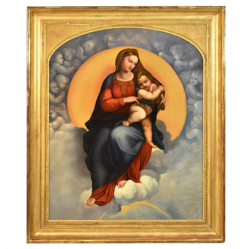 A old paintings religious oil paintings christian paintings on canvas madonna with child 19th century.jpg
